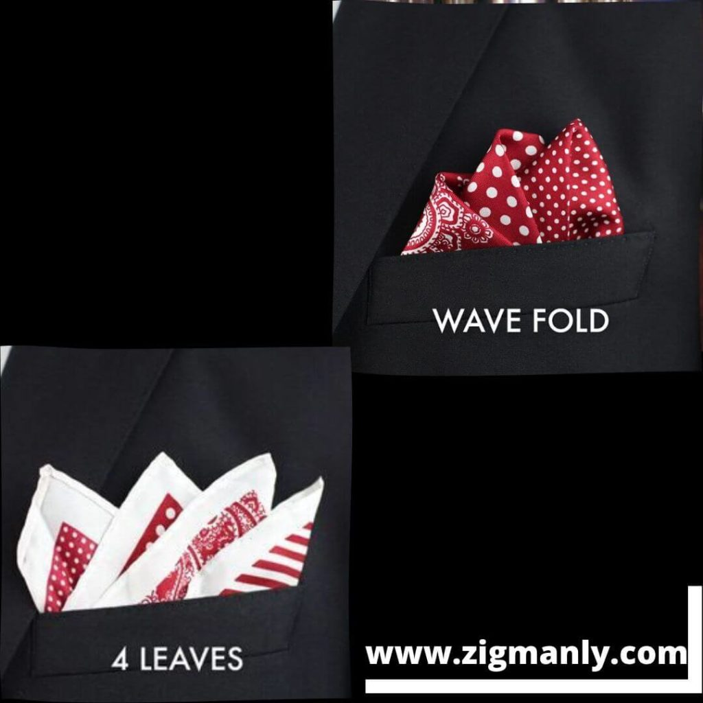 Picture of 2 different ways to fold a pocket square