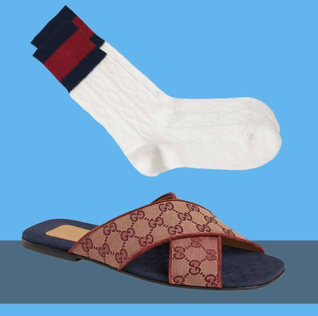 Gucci socks with Gucci Sandals